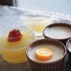 お好みジュースのスープゼリーとハチミツブランマンジェ