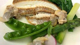 白身魚と野菜のソテー 浅蜊ソース