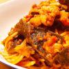 昆布と豚肉のトマトソースパスタ