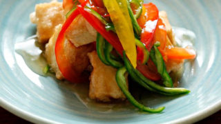 高野豆腐の唐揚げ野菜のあんかけ