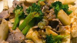 長芋と納豆と豚肉の炒めもの