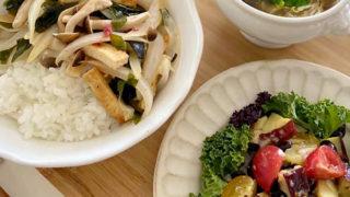 春の新玉ねぎを使ったどんぶりと豆のサラダ、即席お味噌汁