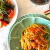 サバ味噌のトマトソースパスタ
