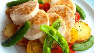 春野菜と鶏ハムのホットサラダ