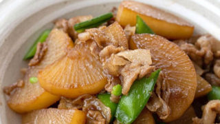 大根と豚肉の甘辛炒め煮