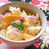 春満開 桜香る筍と平目の炊き込みご飯