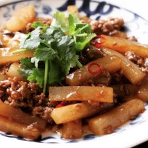 大根と挽肉の豆豉炒め