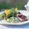 緑のリゾット・ 牛肉の昆布締めロースト 胡麻味噌ソース