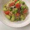 グリーンアスパラガスとトマトのアンチョビソース スパゲッティ