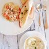 『新キャベツとサーモンのパスタ』と『新玉ねぎの塩麹スープ』